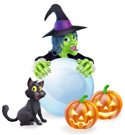 A halloween illustration of a witch, cat pumpkins and crystal ball Vector