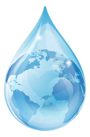 water reflection: An illustration of a water drop with a globe inside. Water drop earth globe environmental concept