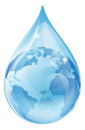 Ilustrace kapku vody, s zeměkoule uvnitř. Water drop země světa koncepce na životní prostředí