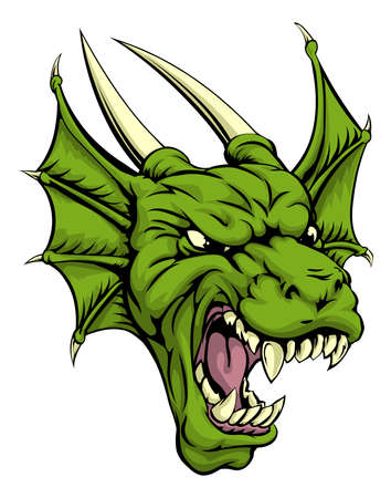 dragon head: An illustration of a mean looking green dragon mascot character Illustration