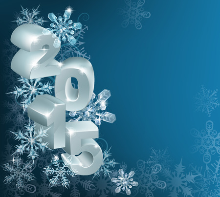 chrismas background: Christmas or new year 2015 decorations background with snowflakes and baubles reading 2015