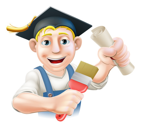 handyman cartoon: Professional training or learning or being qualified concept. Painter decorator with mortar board graduate cap and diploma certificate or other qualification.