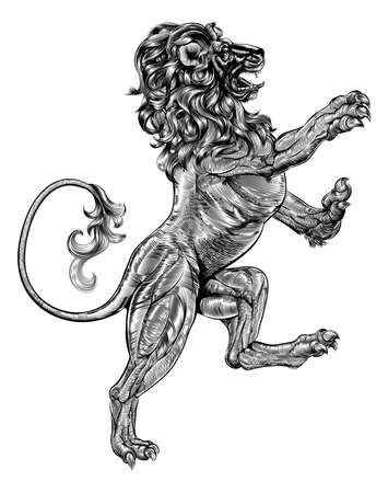 leones: Un ejemplo original de un le�n rampante her�ldico en un estilo del woodblock del vintage