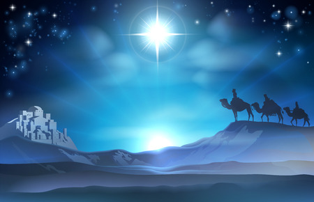 scenes: Christmas Christian Nativity scene of the Star and three Wise Men and Bethlehem in the background