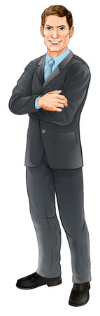 solver: An illustration of a happy handsome standing businessman with his arms folded Illustration