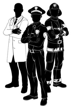 officers: Emergency rescue services team silhouettes of a policeman or police officer, a fireman or fire-fighter and a doctor