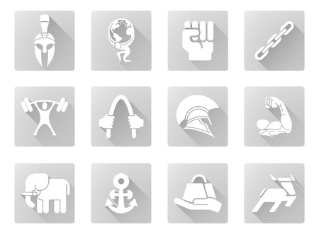 ikon: Conceptual strength icon set of icons relating to the concept of strength or being strong in a modern flat shadow style Illustration