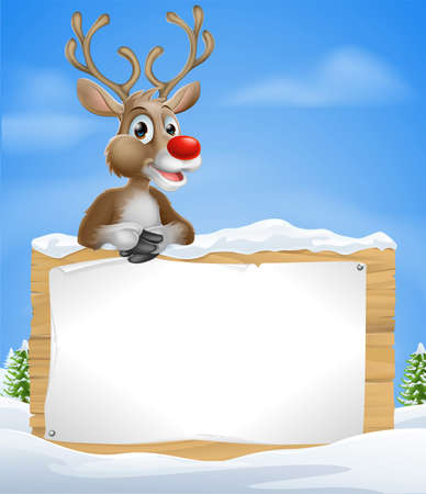 christmas characters: Cartoon Christmas Reindeer Sign of one of Santa's cute red nosed reindeer leaning over a snowy sign