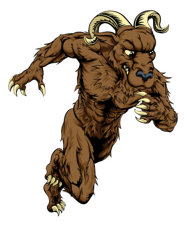 bighorn: An illustration of a charging running ram character, great as a sports or athletics mascot