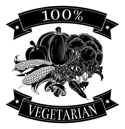 grocer: Vegetarian 100 percent label with vegetables and reading 100 percent vegetarian