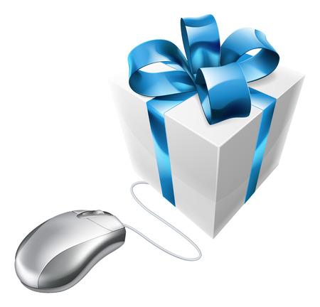 giveaway: Rat�n y regalo en l�nea de internet ilustraci�n actual de compras de un rat�n de ordenador conectado a un presente. Podr�a ser el concepto de vales