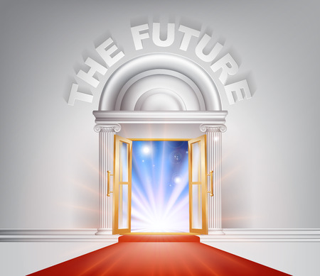 concierge: The Future door concept of a fantastic white marble door with columns and a red carpet with light streaming through it.