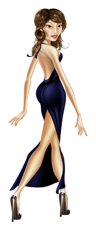 walk of fame: Illustration of an elegant glamorous beautiful celebrity woman in a long black dress