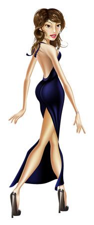 Illustration of an elegant glamorous beautiful celebrity woman in a long black dress