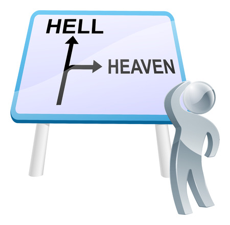 decide: A man looking up at a direction road sign with the words heaven and hell on it Illustration