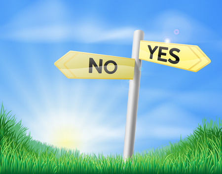 rolling landscape: Yes or no sign sign in a sunny green field of lush grass Illustration