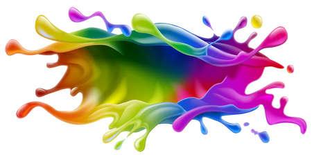 brocha de pintura: Un chapoteo de la pintura pintura de colores arco iris o el dise�o de tinta