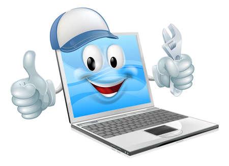 person computer: Laptop-Computer-Ingenieur, Klempner oder Mechaniker. K�nnte Computer Reparatur oder Wartung betreffen