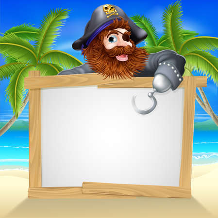 caribbean beach: Cartoon pirate beach sign illustration of a fun cartoon pirate pointing over a sign on a beach Illustration