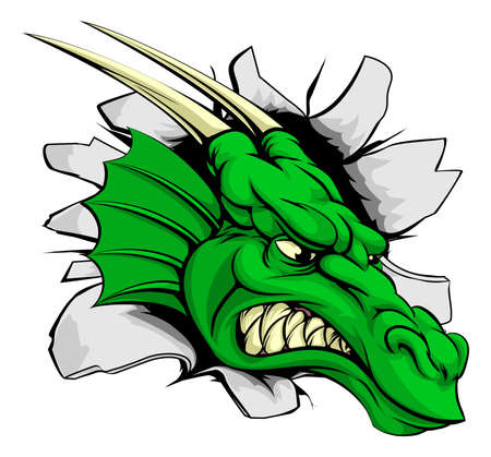 green dragon: Dragon sports mascot breakthrough concept of a dragon sports mascot or character braking out of the background or wall