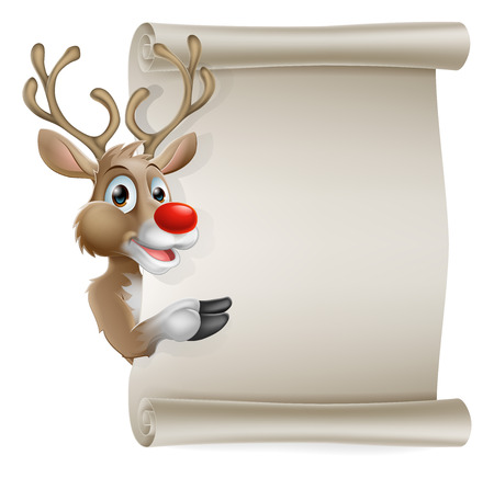 Cartoon reindeer scroll sign of Christmas reindeer pointing at a scroll banner