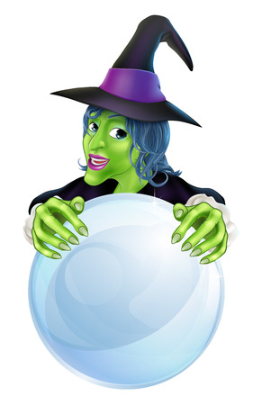 fortuneteller: A cartoon witch and crystal ball with copy space on the crystal ball.