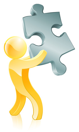 organise: An illustration of  a 3d mascot person holding a jigsaw piece
