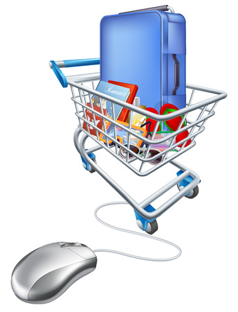Internet shopping online for vacation concept of a computer mouse attached to a trolley full of holiday essentials Vector