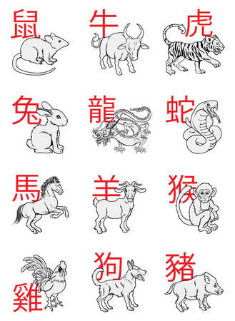 A series of Chinese New Year Zodiac Signs with the calligraphy writing behind each animal Illustration