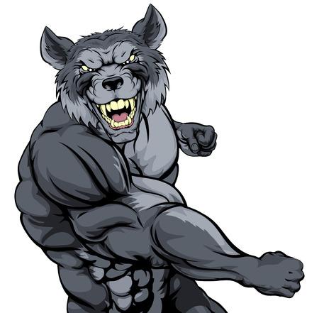 kampfhund: Tough mittlere Muskelwolfcharakter oder Sport Maskottchen in einem Kampf mit der Faust Stanzen