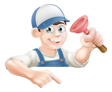 A cartoon plumber with a sink plunger peeking over a sign or banner and pointing at it Vector