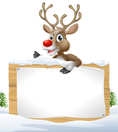 red nosed: Cartoon Christmas Reindeer Sign of one of Santa's cute red nosed reindeer leaning over a snowy sign