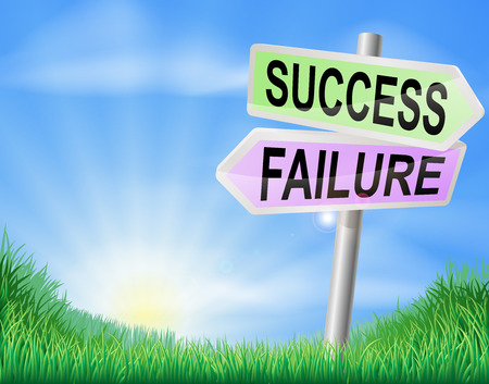 rural road: Success or failure sign in a sunny green field of lush grass Illustration
