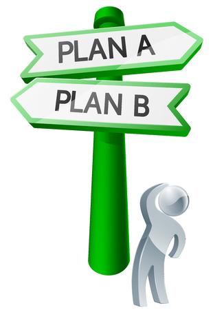 considering: A man considering his options by looking up at a sign reading plan a or plan b