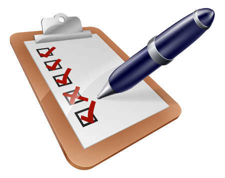 customer survey: Survey clipboard and cartoon pen ticking or crossing boxes on a survey or other form Illustration
