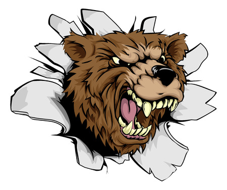shredding: Bear breakthrough concept of a bear character or sports mascot smashing through the background