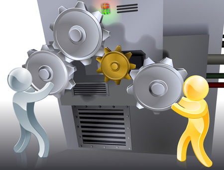 workings: Changing settings concept with two mascots controlling a machine or changing its settings by manipulating cogs