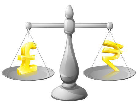 apalancamiento: Escala el concepto de moneda, concepto de forex de divisas, la libra y la rupia signos en las escalas que se pesaron unos contra otros