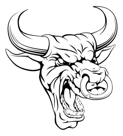 A drawing of a mean angry looking bull mascot face Vector