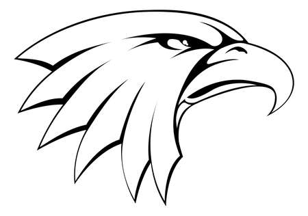 eagle feather: A proud powerful looking bald eagle head icon Illustration