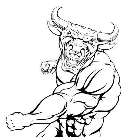 bull fighting: Bull mascot character or sports mascot fighting punching with a fist