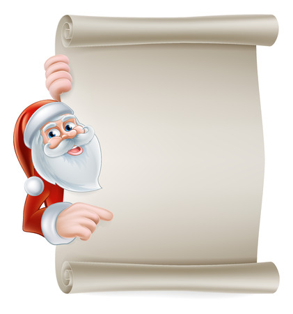 Cartoon Christmas Santa scroll sign of Santa Claus pointing at a scroll banner Vector