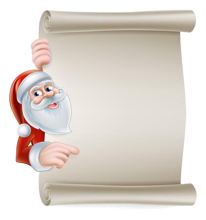 santaclause hat: Cartoon Christmas Santa scroll sign of Santa Claus pointing at a scroll banner Illustration