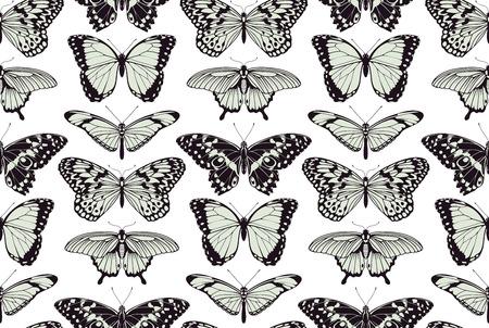 tilable: Una farfalla tilable senza sfondo modello vintage design illustrazione Vettoriali