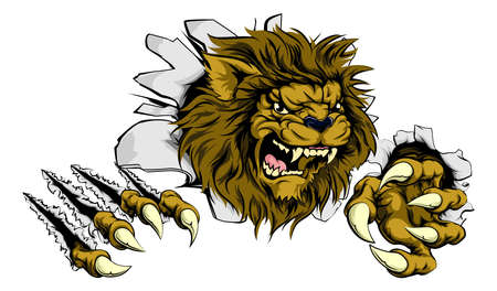 roar: A Lion sports mascot ripping through the background Illustration