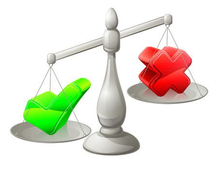 Scales illustration with a green tick and red cross on it, the green tick being heaviest Vector