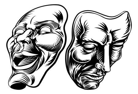 tragedy mask: An original illustration of Theatre Masks, comedy and tragedy, in a vintage style