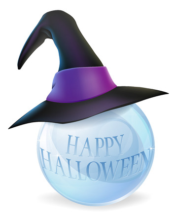 clairvoyant: A cartoon Halloween witch hat on a crystal ball with Happy Halloween message on ball Illustration