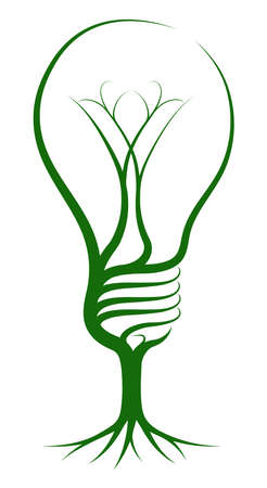 Light bulb tree concept of a tree growing in the shape of a lightbulb. Could be a concept for ideas or inspiration Vector