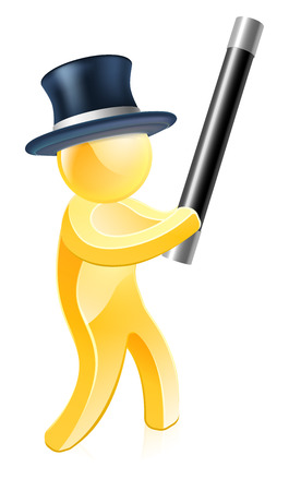 An illustration of a magician in a top hat with a wand Vector